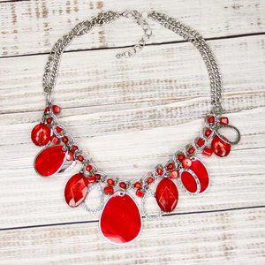 Beaded Red Necklace Silver Accents